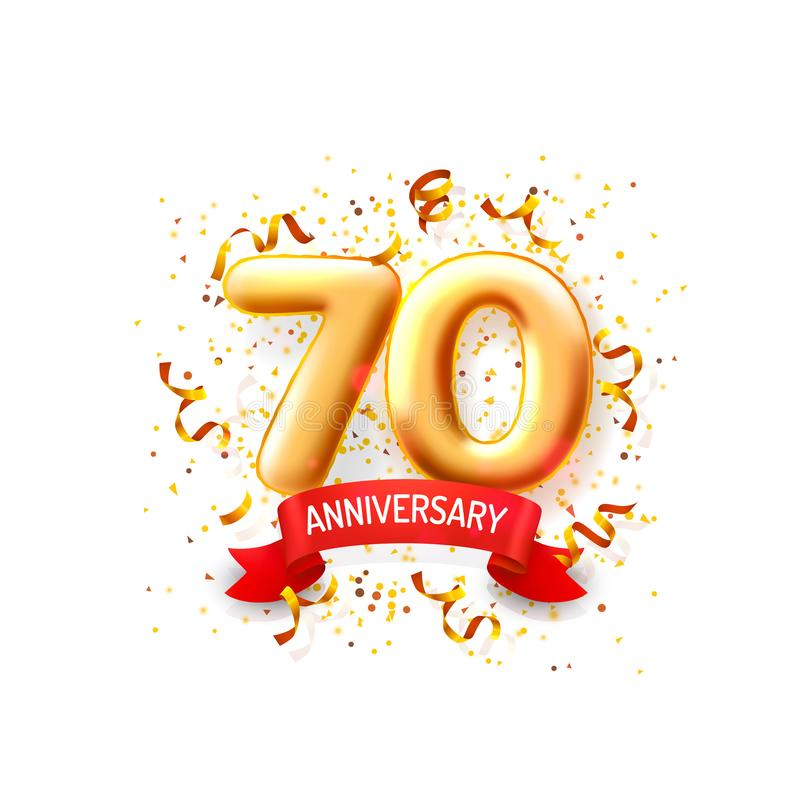 Årsdagceremoniballonger, baner för 70 nummerballonger vektor royaltyfri illustrationer