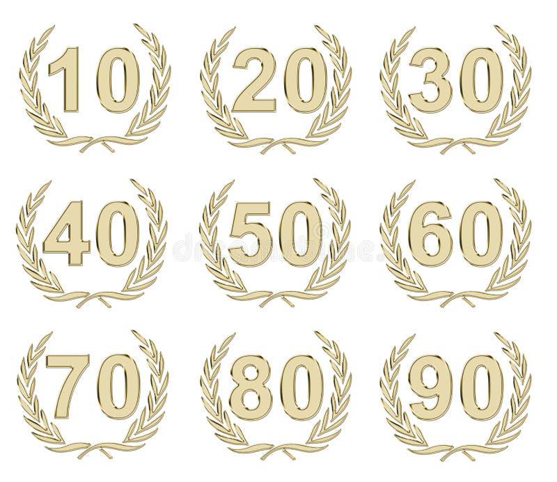 årsdagguld royaltyfri illustrationer