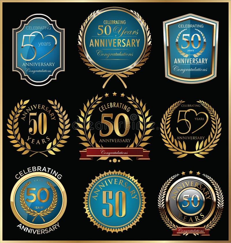 Årsdagguld och blåttetikettsamling, 50 år stock illustrationer
