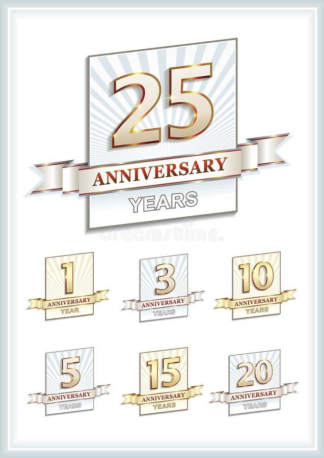 Årsdagkort 25 år royaltyfri illustrationer