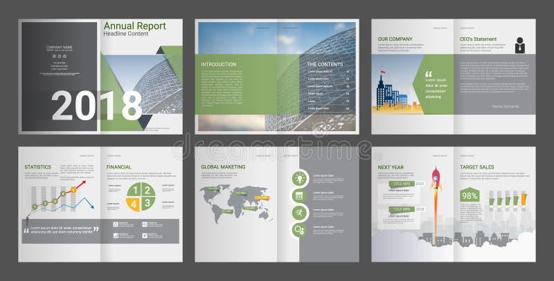 Årsrapport företagsprofil, byråbroschyr, presentationsmall som kan användas till mycket vektor illustrationer