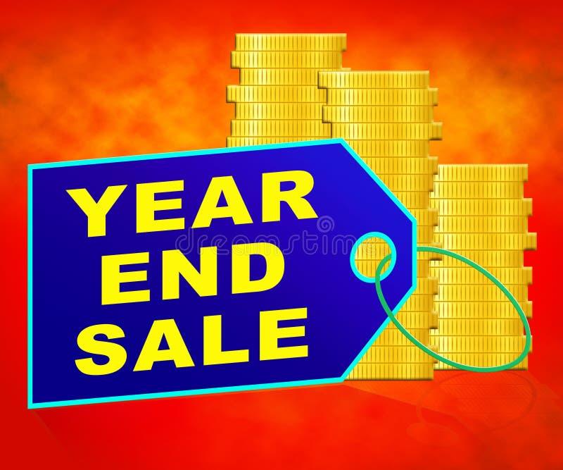 Årsslut Sale som föreställer den återförsäljnings- illustrationen för rensning 3d royaltyfri illustrationer