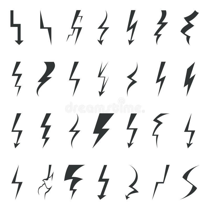 Åska illustrationen för vektorn för beståndsdelar för den fastställda designen för symboler för pictogramen för blixtbulten stock illustrationer