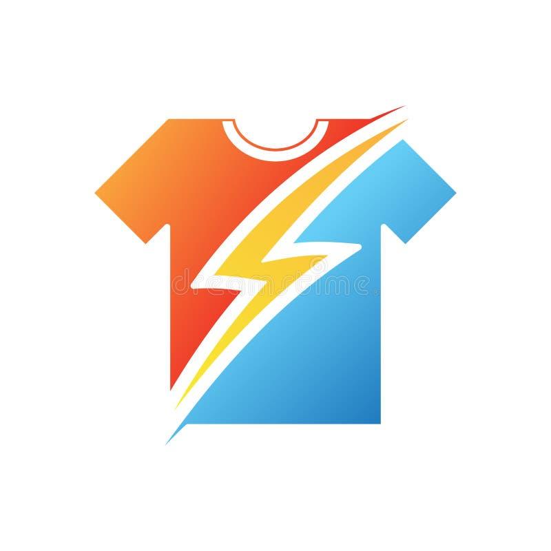 Åska på t-skjortan i plan stil på den vita bakgrunden vektor illustrationer