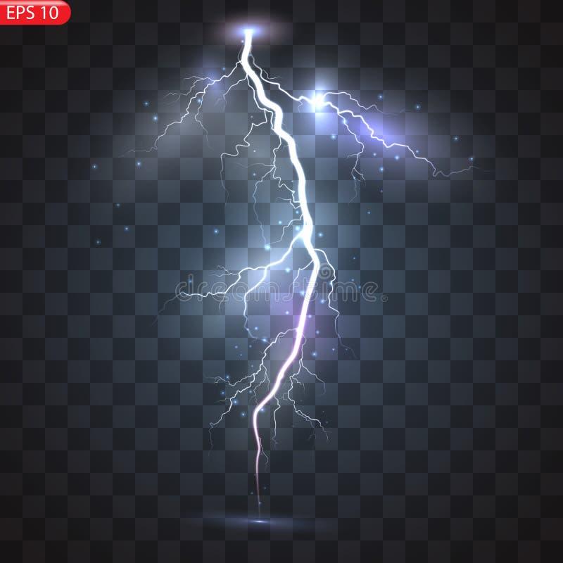 Åska-storm och blixtar vektor illustrationer