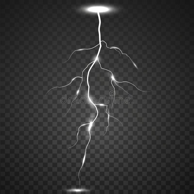 Åska-storm och blixtar Magiska och ljusa effekter på en genomskinlig bakgrund royaltyfri illustrationer