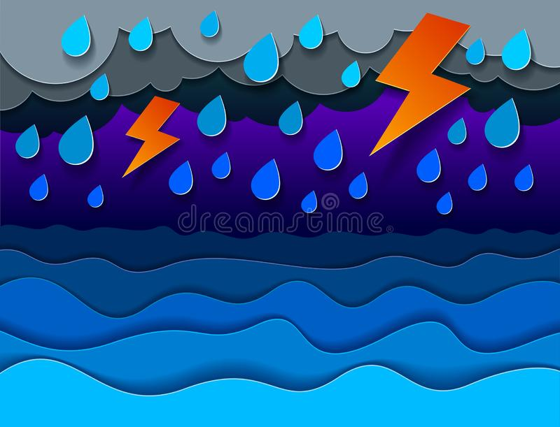 Åskväder med blixt över havet med regnigt väder för curvy vågor, perfekt modern vektorillustration stock illustrationer