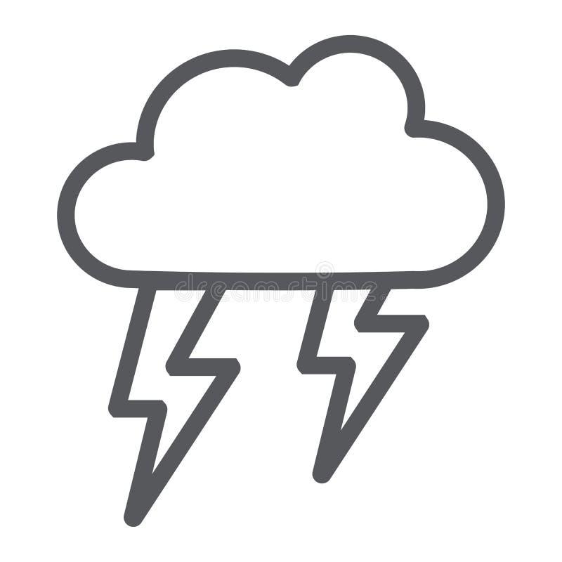 Åskväderlinje symbol, väder och prognos, stormtecken, vektordiagram, en linjär modell på en vit bakgrund vektor illustrationer