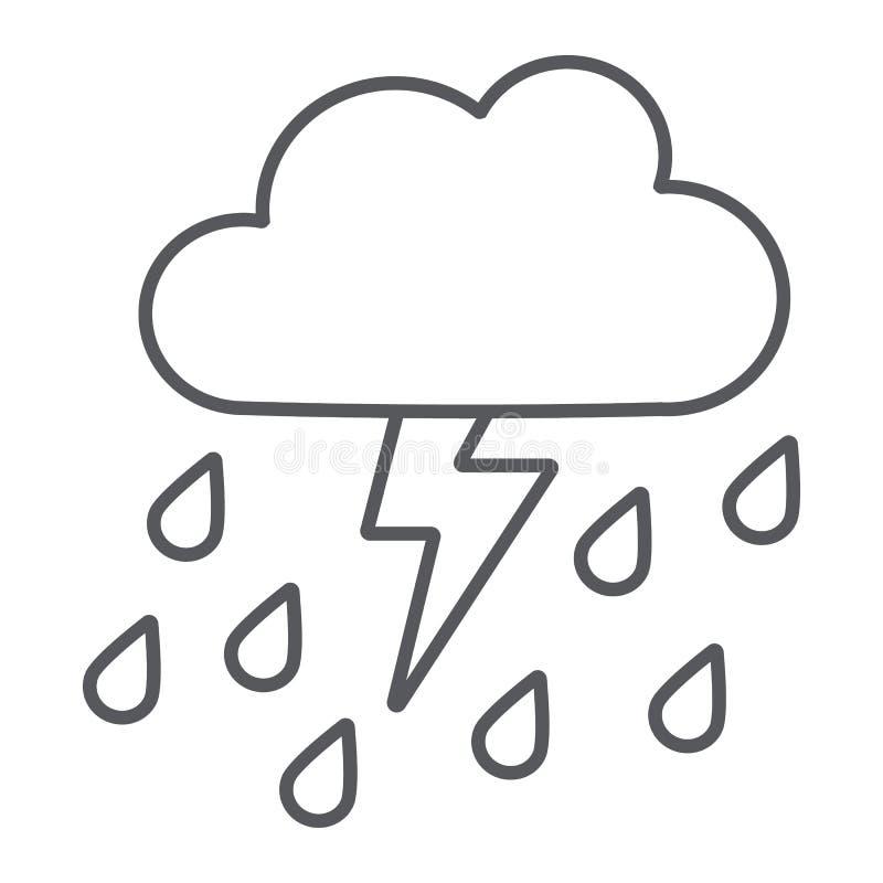 Åskvädret med den tunna linjen för regn symbol, väder och prognos, åskar tecknet, vektordiagram, en linjär modell på ett vitt vektor illustrationer
