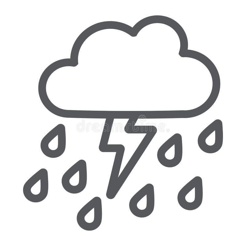 Åskvädret med regnlinjen symbol, väder och prognos, åskar tecknet, vektordiagram, en linjär modell på ett vitt royaltyfri illustrationer