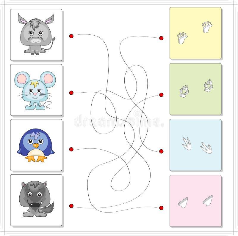 Åsna, mus, pingvin och varg med deras spår vektor illustrationer