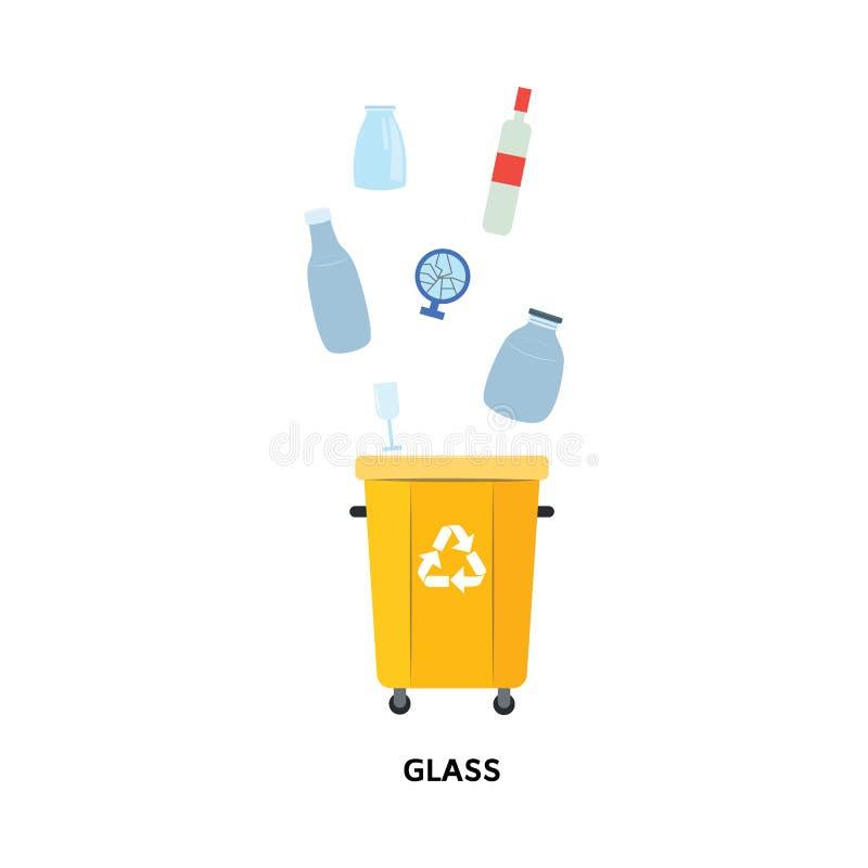 Återanvänd avfallfacket för använda och kastade exponeringsglasmaterial i plan stil stock illustrationer