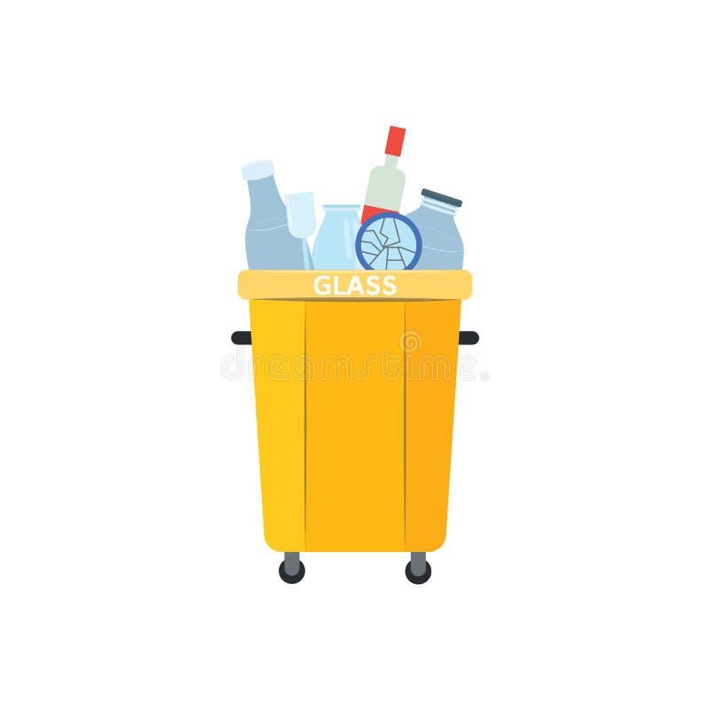 Återanvänd avfallfacket för använda och kastade exponeringsglasmaterial i plan stil som isoleras på vit bakgrund stock illustrationer