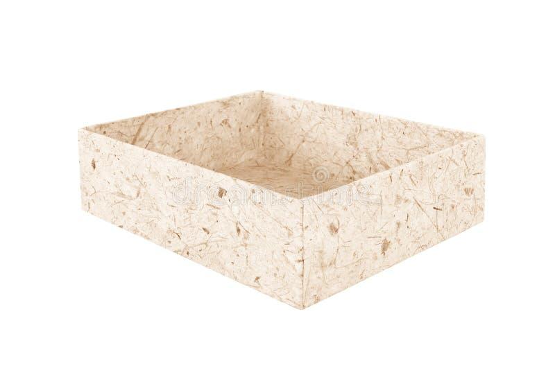 Återanvänd brun ask för pappers- trämassa på vit bakgrund arkivbilder