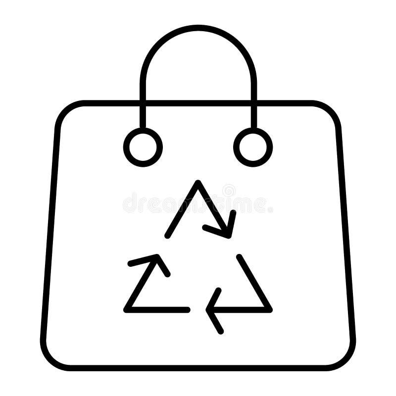 Återanvänd den tunna linjen symbol för shoppingpåsen Illustration för Eco paketvektor som isoleras på vit Ekologipåsen med återan stock illustrationer