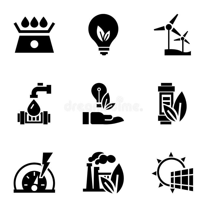 Återanvänd energisymbolsuppsättningen, enkel stil stock illustrationer