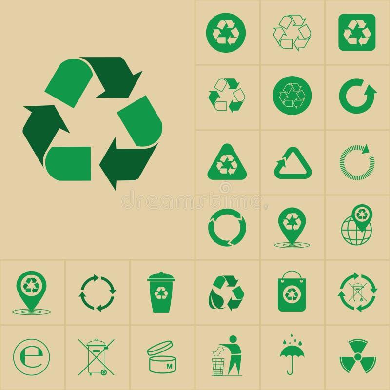 Återanvänd förlorade symbolgräsplanpilar Logo Set Web Icon Collection royaltyfri illustrationer