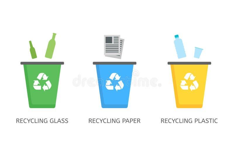 Återanvänd fack för plast-, papper, exponeringsglasvektorsymboler i plan stil stock illustrationer