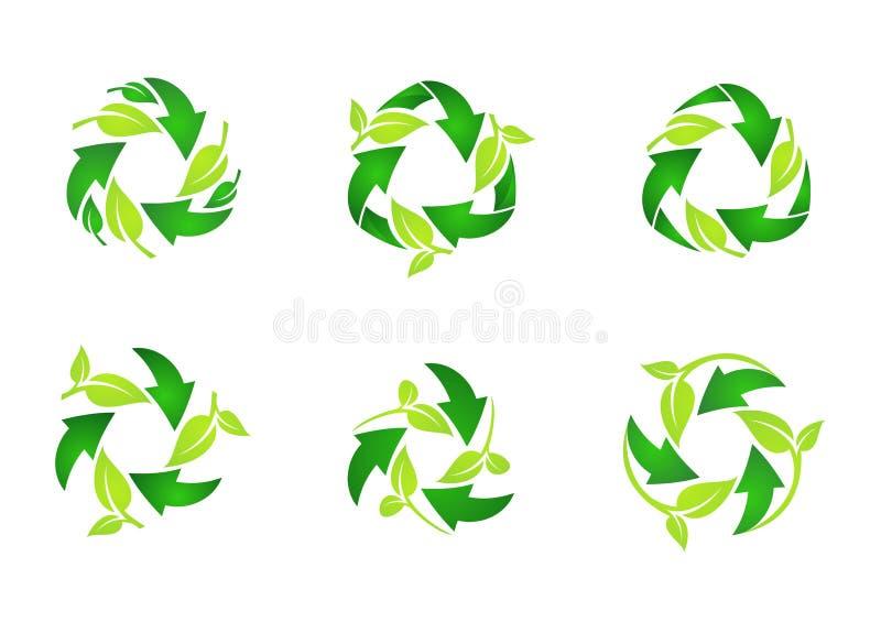 Återanvänd logoen, naturliga gröna sidor för cirkeln som återanvänder uppsättningen av den runda designen för symbolsymbolsvektor royaltyfri illustrationer