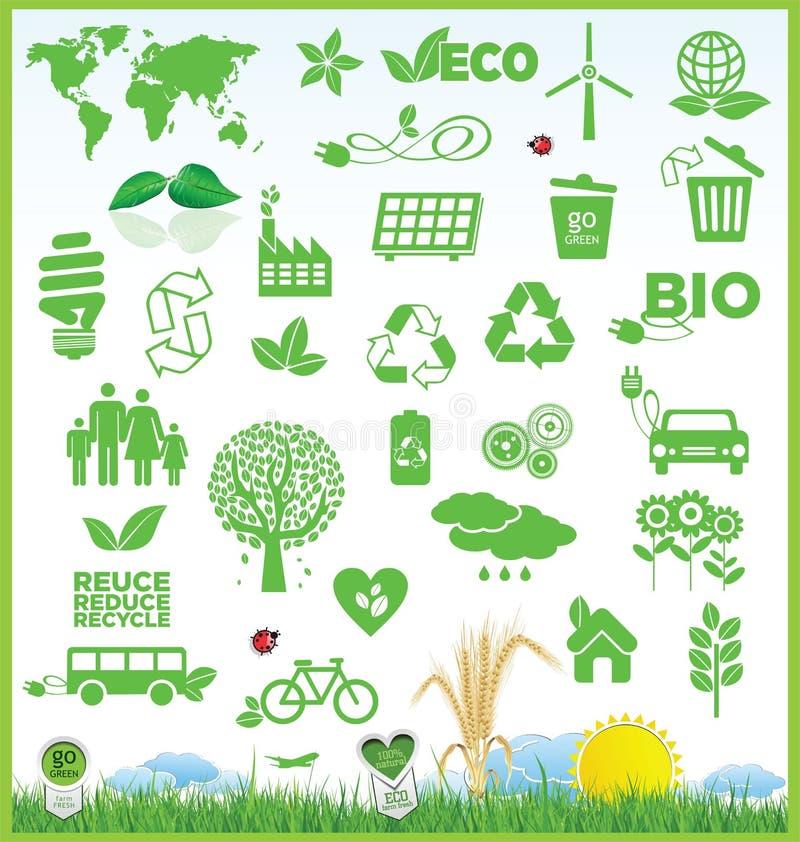 Återanvänd och ekologisymbolssamlingen vektor illustrationer