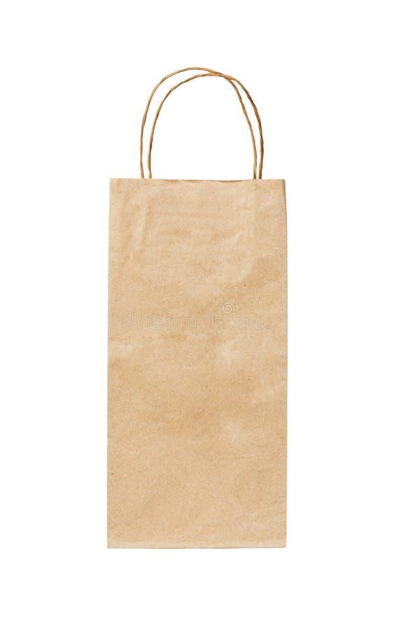 Återanvänd påse för papperskraft lång shopping som isoleras på vit bakgrund royaltyfri fotografi