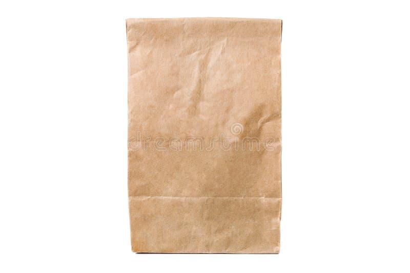 Återanvänd pappers- shoppingpåse som isoleras på vit arkivfoto