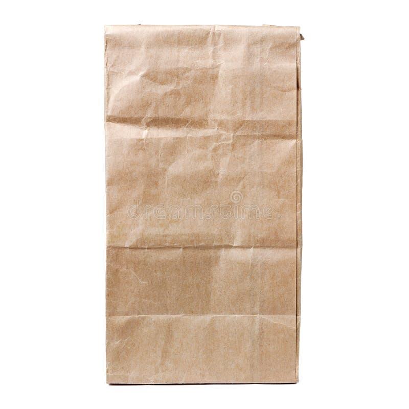 Återanvänd pappers- shoppingpåse som isoleras på vit royaltyfri foto