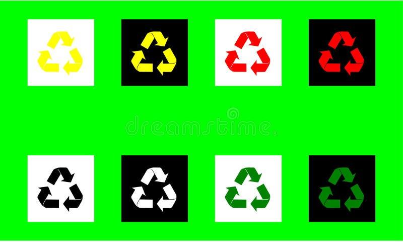 Återanvänd symbolen för pilsymbollägenheten för illustration för vektor för gräsplan för vit för svart för guling för olika färge vektor illustrationer