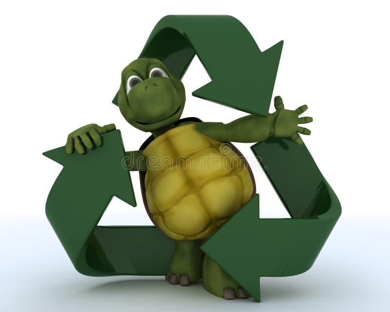 återanvänd symbolsköldpaddan royaltyfri illustrationer