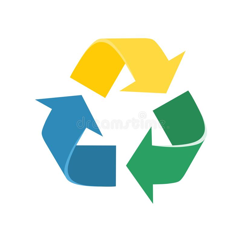 återanvänd tecknet Färgglad pilinflyttningtriangel stock illustrationer