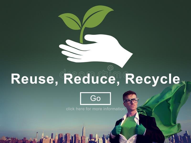 Återanvända förminskar återanvänder hållbarhetekologibegrepp royaltyfri fotografi