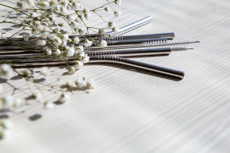 Återanvändbara metallhalsar för drycker med rengöringspenna fotografering för bildbyråer