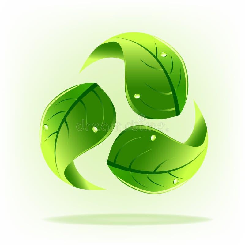 Återanvänder gröna blad för logo symbolvektorn vektor illustrationer
