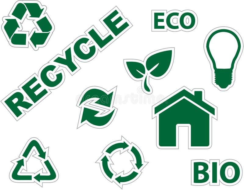 återanvänder gröna symboler för miljö vektor illustrationer