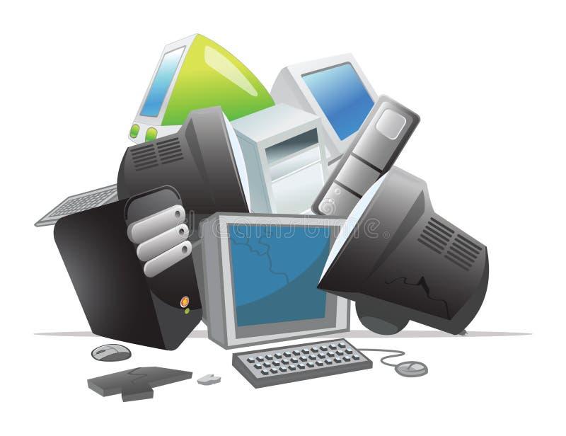 Återanvändning av datorer royaltyfri illustrationer