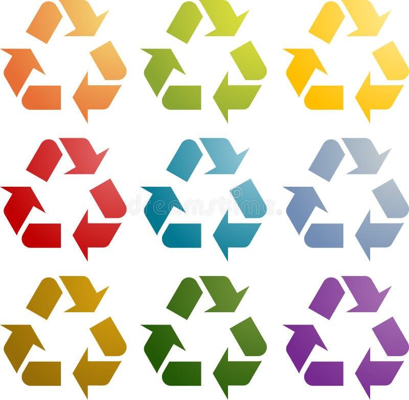 Återanvändning av ecosymbolsseten stock illustrationer