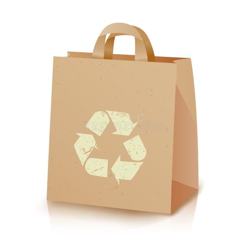 Återanvändning av påsevektorn LunchKraft för brunt papper påse med återvinningsymbol Ecologic hantverkpacke isolerad knapphandill royaltyfri illustrationer
