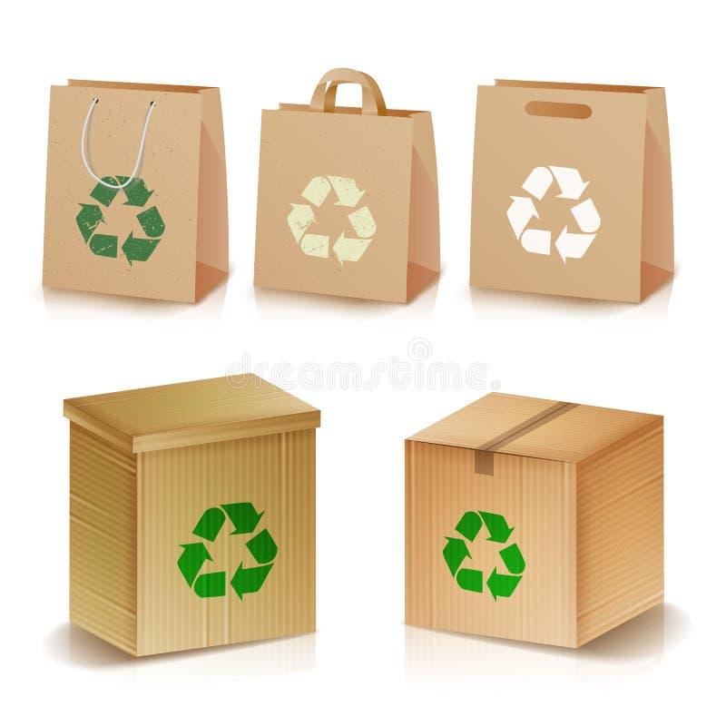 Återanvändning av pappers- påsar och av askar Realistisk tom Ecologic hantverkpacke Illustration av återanvänt brunt shoppingpapp stock illustrationer