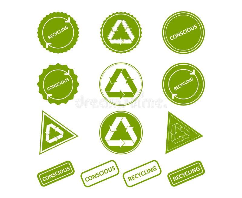 återanvändning Medveten förbrukning Ställ in av stämplar, klistermärkear vektor illustrationer