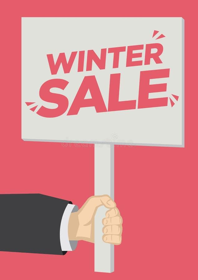Återförsäljnings- shoutout för vinterSale befordran med ett plakatbaner mot en röd bakgrund royaltyfri illustrationer