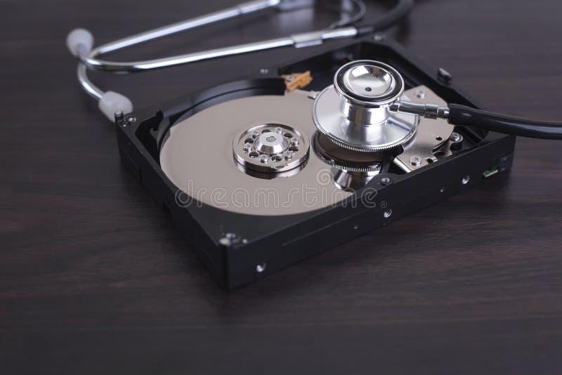 Återgivning av återställningen för datorreparationer och för digitala data arkivbild