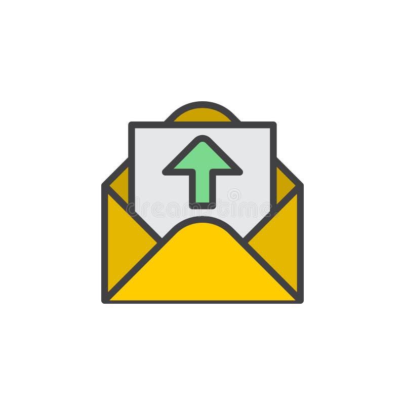 Återkoppling bokstav med den övre pilen fyllde översiktssymbolen, linjen vektortecknet, linjär färgrik pictogram stock illustrationer