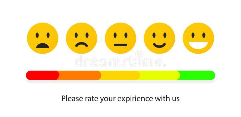 Återkoppling eller kvalitets- kontroll Klassa lynne med den leende-, emoji- eller leendeframsidan Användaregranskning av service  royaltyfri illustrationer