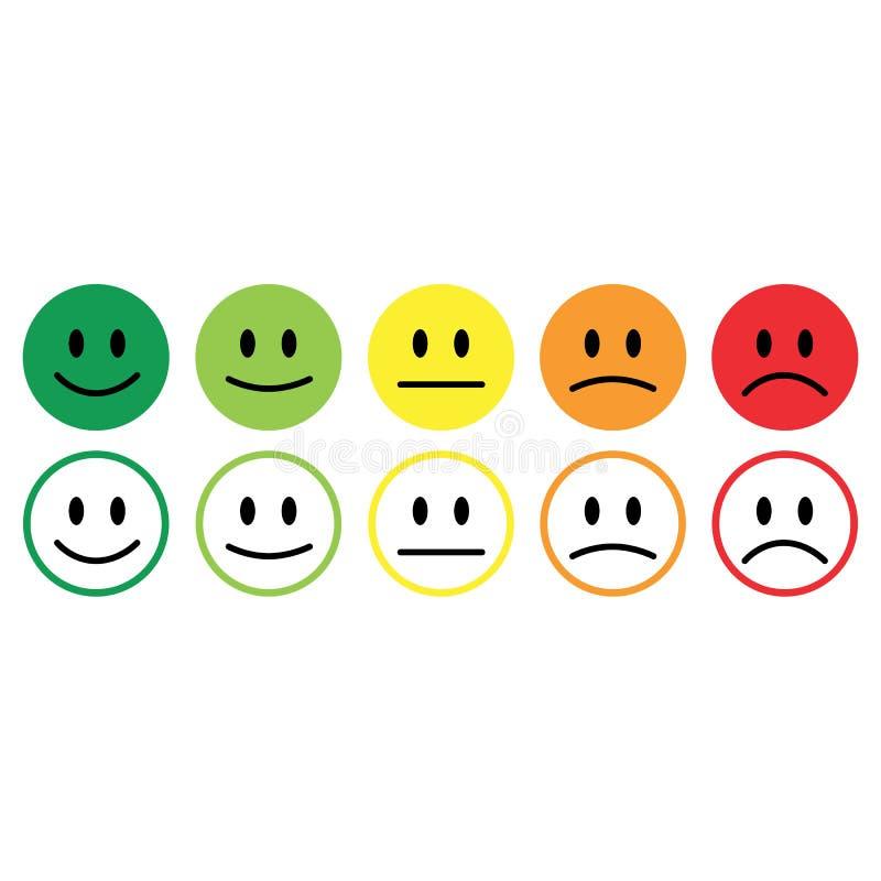 Återkoppling för värdering för tillfredsställelse för fem leendesymbolssinnesrörelser vektor illustrationer