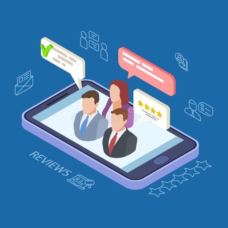 Återkoppling granskar den isometriska vektorillustrationen Online-återkopplingsbegrepp med telefonen, folk, anförandebubblor royaltyfri illustrationer