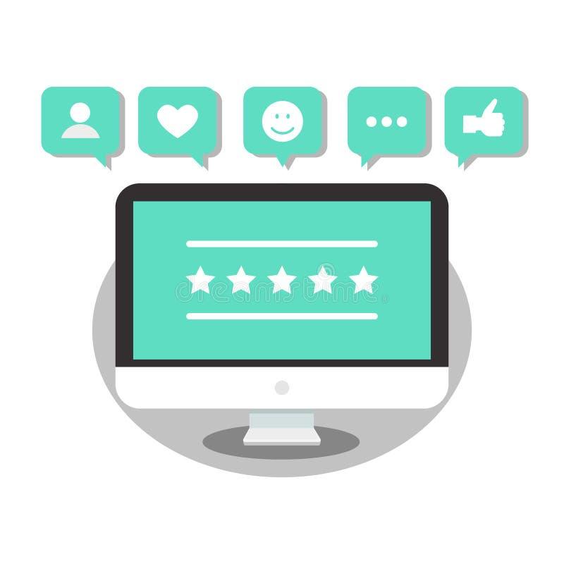 Återkoppling, granskningar och värderingsintyg med som, kommunikationsbegrepp Social massmediaframgång Lägenhet illustration royaltyfri illustrationer