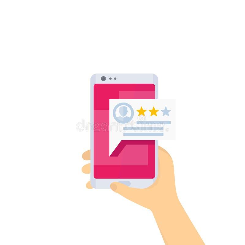 Återkoppling mobil granskning, telefon i händer, vektor stock illustrationer