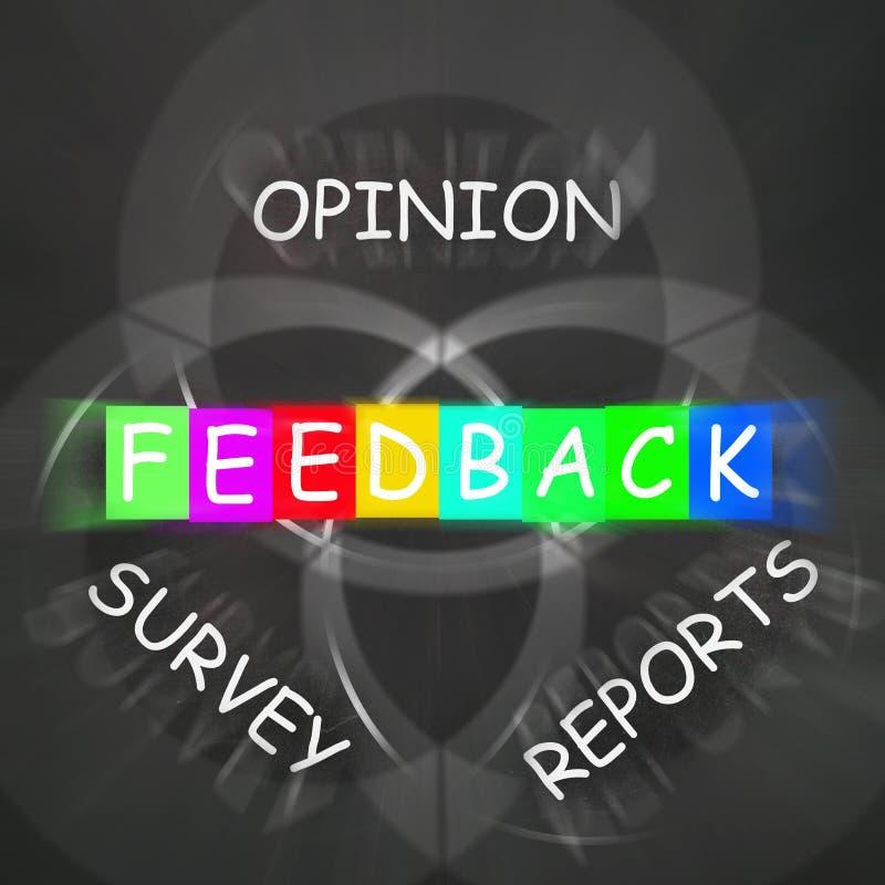 Återkoppling visar rapporter och granskningar av åsikter vektor illustrationer