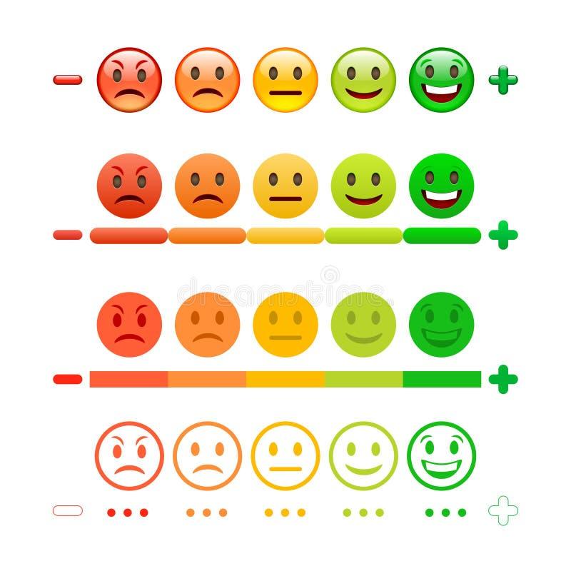 ÅterkopplingsEmoticonstång Återkoppling Emoji vektor illustrationer