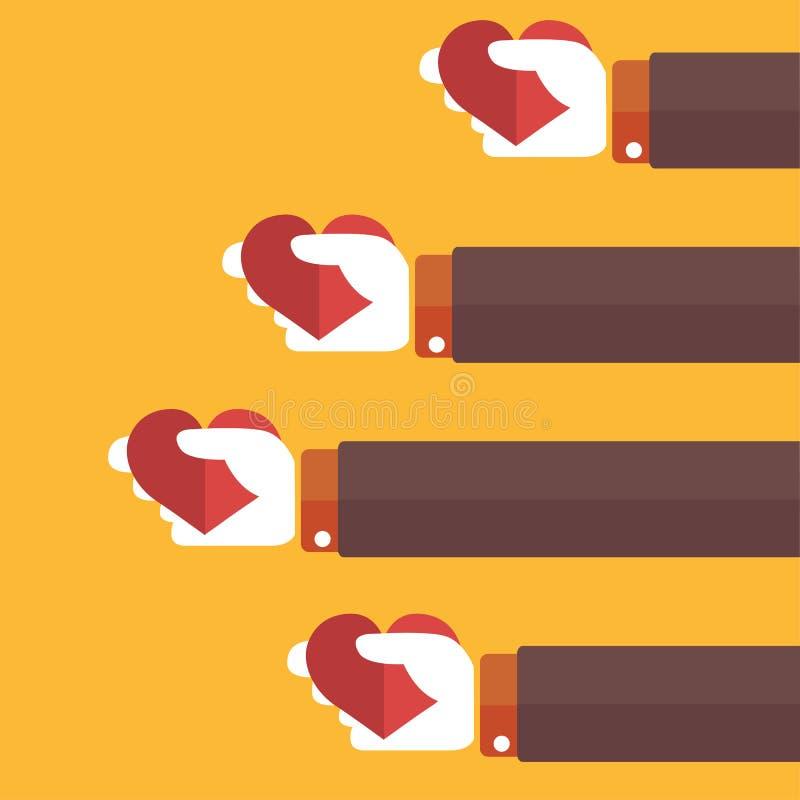 Återkopplingserkännandebegrepp, tjänste- värdering dag som ger handhjärtaholdingen som mottar s-valentinen stock illustrationer